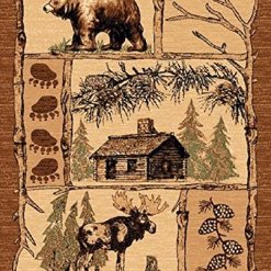Cabin Bear Elk Brown Area Rug