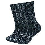 EnerWear 4 Pack Women's Merino Wool Outdoor Hiking Trail Crew Sock(US Shoe Size 4-10½, Black/Grey/Multi)
