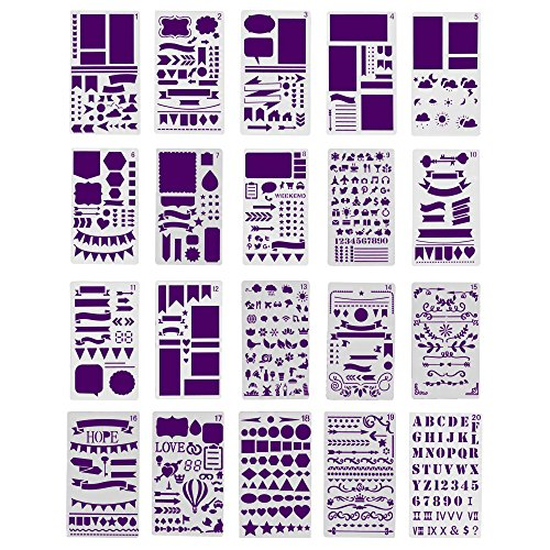 Bullet Journal Stencil Set, 20 Stencils for Journaling, Best for Scrapbooking, Card Making, Bible Journaling, DIY, Kids Crafts and More, Makes a Great Gift, by Fairytale Flair