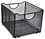 EasyPAG Office Folder Holder Organizer Mesh File Box Foldable Storage Crate, Black