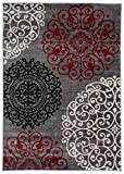 Rugshop Modern Floral Contemporary Area Rug, 10' x 14', Red
