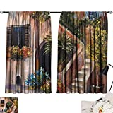 Warm Family Long Curtains Rustic,Terrace Flowers and Garden House Greece with Rustic Window Oil Painting,Green Brown and Peach 84'x84',Blackout Window Curtain Panels