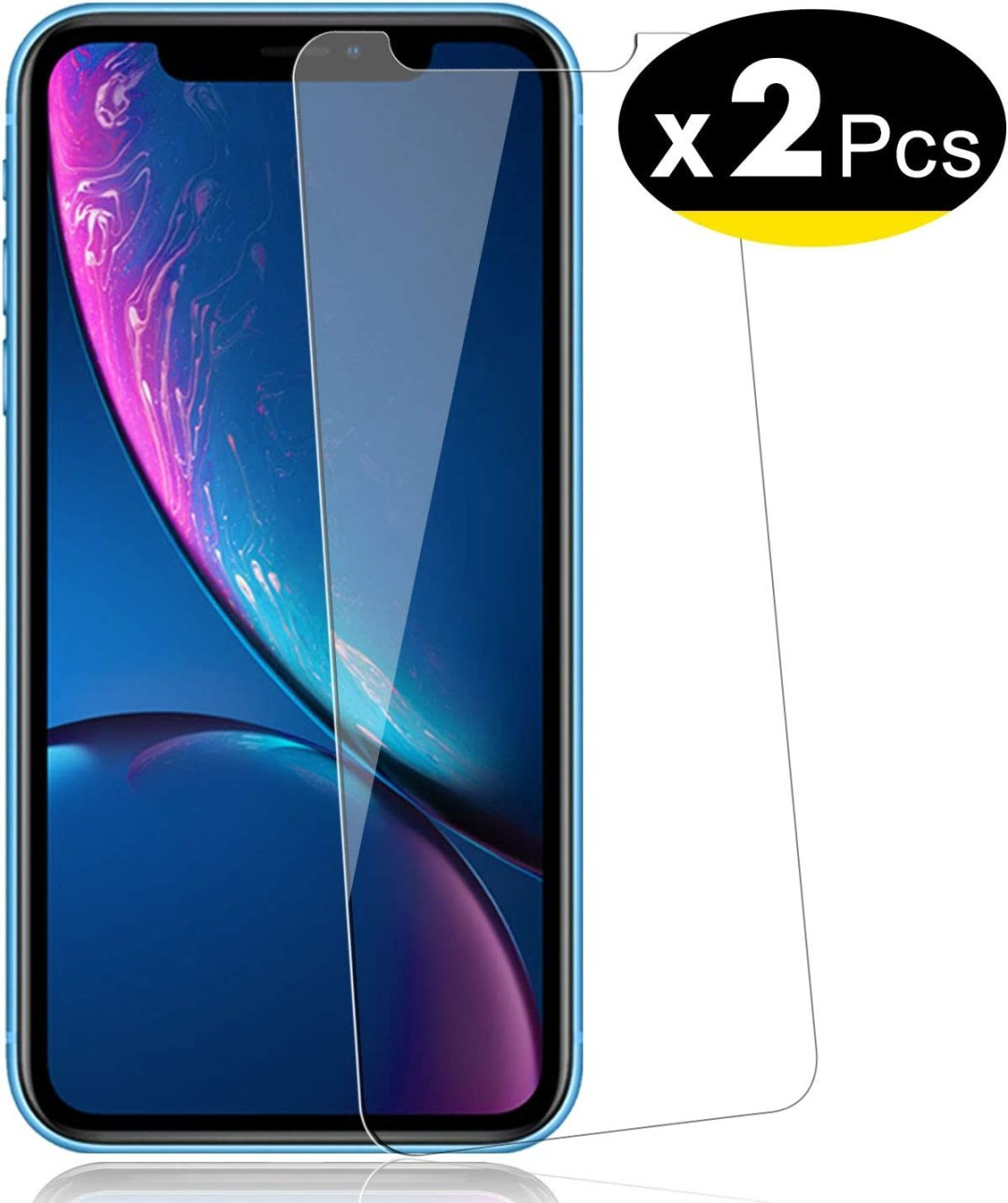 "NEW'C Lot de 2, Verre Trempé pour iPhone 11, iPhone XR (6.1""), Film Protection écran - Anti Rayures - sans Bulles d'air -Ultra Résistant (0,33mm HD Ultra Transparent) Dureté 9H Glass"