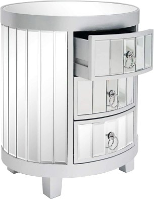 NMFIN Mirrored Nightstand with 3-Drawers,Modern Mirrored Table