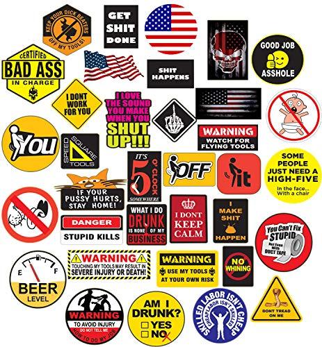 35 Hard Hat Sticker,Tool Box Stickers- 100% Plastic(Vinyl), Funny Decals Construction, Electrician, Oilfield, Fire Crew, Mechanic- Skateboard Sticker Decal.