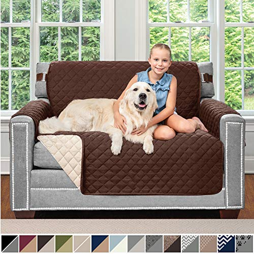 Sofa Shield Original Patent Pending Reversible Chair and a Half Slipcover, Dogs, 2' Strap/Hook, Seat Width Up to 48', Furniture Protector Washable, Slip Cover Throw for Pets, Kids (Chocolate/Beige)