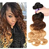 Ombre Brazilian Virgin Hair Body Wave Ombre Human hair 3 Tone,3 Bundles Ombre Brazilian Hair Extensions (T1B/4/27,14' 16' 18')