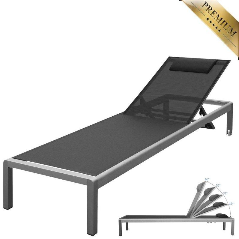 """PREMIUM XXL Aluminium-Liege """"Monaco"""" ca. 160 kg belastbar, mit Räder und Nackenrolle, bestens für den gewerblichen Einsatz geeignet, 5-fach verstellbare Rückenlehne (ganz flach), Alu, rollbar, Bezug Schwarz von RS Trade"""