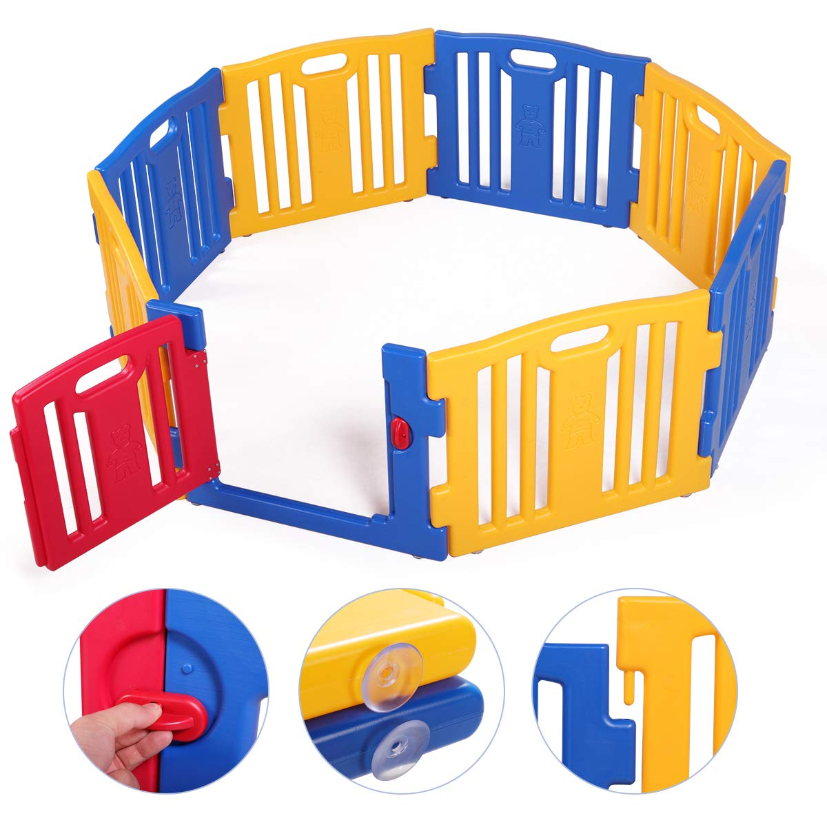 LAZYMOON Baby Playpen 8 Panel Foldable Kids Safety Play Center