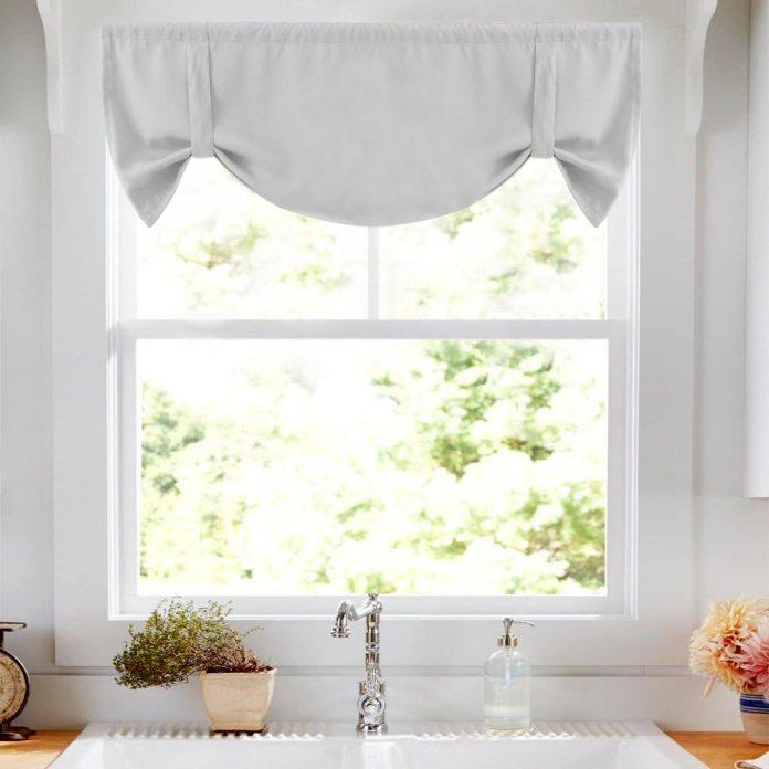 Tied up kitchen curtain