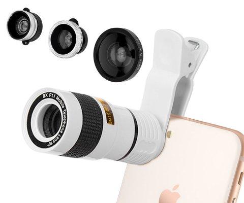 スマホ用カメラレンズ スマホ望遠レンズ クリップ式 5in1レンズ 8倍望遠レンズ 180°魚眼レンズ 0.4x広角レンズ 0.65x広角レンズ 10xマクロレンズ (白)