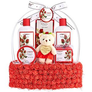 Valentine's Day Spa Gift Basket for Women – Red Rose Scented in Floral Handmade Basket With Bubble Bath, Body Butter, Salts, Shower Gel, Flower Soaps, Teddy Bear – Bath and Body Gifts for Wife & Mom