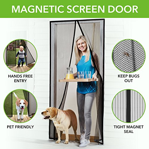 Homitt Magnetic Screen Door with Heavy Duty Mesh Curtain and Full Frame Hook&Loop FITS Door Size up to 36'-82' Max