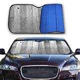 Big Hippo Front Car Sunshade Windshield-Jumbo/Standard Sun Shade Keeps Vehicle Cool-UV Ray Protector Sunshade-Easy to Use Sun Shade-Silver/Blue Sides(Size: 55'X 27.5')