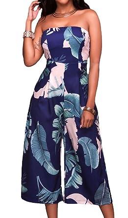 Roswear Women's Leaf Print Strapless Capris Romper Jumpsuit Dress Dark Blue Small