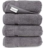 SALBAKOS Turkish Luxury Hotel & Spa 27'x54' Bath Towel Set of 4 Cotton from Turkey - 700gsm Eco-Friendly (Bath Towels, Gray)
