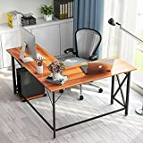"""LITTLE TREE L Shaped Corner Computer Desk for Small Office Home, 59.14' (L) x 51.18' (W) x 19.69' (D) x 30.31"""" (H), Rosewood"""