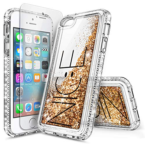 iPhone 5S Case, iPhone SE/5 Case with Screen Protector for Girls Women Kids, NageBee Glitter Liquid Sparkle Bling Floating Waterfall Quicksand Diamond Cute Durable Case for iPhone 5/5S/SE -Nice