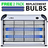 LiBa Bug Zapper Electric Indoor Insect Killer Mosquito, Bug, Fly Killer - Powerful 2800V Grid 20W Bulbs - 2-Pack Replacement Bulbs Included