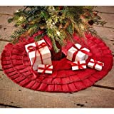 Red Burlap Ruffled Mini Xmas Tree Skirt 21'