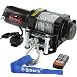 Bravex Electric Winch, Reversible Portable 12-Volt DC Electric Winch Marine Boat Trailer Truck Power-in, Power-out (Corded Remote Control & Hand Crank, up to 6000lbs Rolling - Max boat size 18 ft)