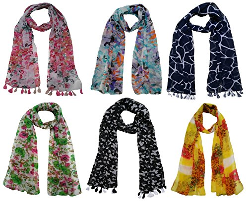 FusFus Women's Printed Trendy Stoles, Free Size(Multicolour, F0168) – Pack of 6