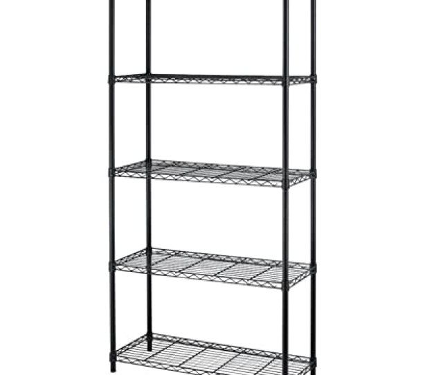 Amazon Com 5 Shelf Home Style Black Steel Wire Shelving  By 72 Inch Storage Rack 5 Kitchen Dining