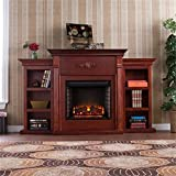 Southern Enterprises Tennyson Electric Fireplace with Bookcase, Classic Mahogany Finish