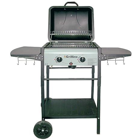 Grillino Barbecue Gas Pietra Lavica 2 Fuochi Bruciatori Con Griglia E Mensole