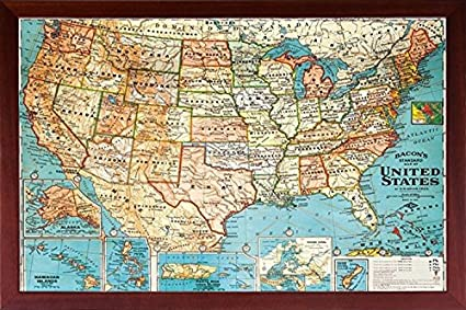 com framed us map united states usa vintage wall