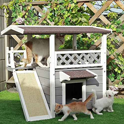Petsfit Weatherproof Outdoor/Indoor Cat House with Scratching Pad for 1-3 Cats