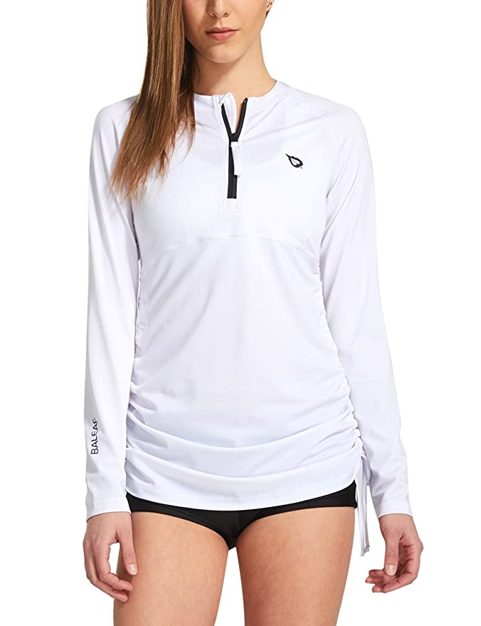 Baleaf Women's Long Sleeve Half-Zip Sun Protection Rashguard Side Adjustable Swim Shirt White Size XL