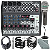 Behringer XENYX 1202 12 Channel Audio Mixer and Deluxe Bundle w/Samson Dynamic Mic + Closed-Back Headphones + Desktop Mic Stand + More
