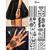 8 Sheets Black Henna Temporary Tattoo Stickers Lace Sexy Body Tattoo stickers Women Girls,Flash Tattoo for Festival Wedding Party (Black Henna)
