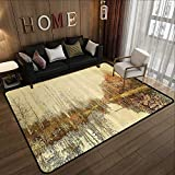 All Weather Floor mats,Mystic River Decor,Watercolor Landscape Paintings with Art Prints Nature Neutral Colors Trees Leaves Paints,Sepia Yellow 71'x 81.5' Multi-USE Floor MAT