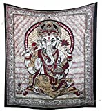 """Amitus Exports - 1 X Lord Ganesha Batik Tapestry 88""""x82"""" Approx. Inches Color Queen Size Cotton Fabric Multi-Purpose Handmade Tapestry"""