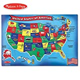 Melissa & Doug USA (United States) Map Floor Puzzle (Wipe-Clean Surface, Teaches Geography & Shapes, 51 Pieces, 24' L x 36' W)