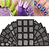 Ejiubas 144 Pieces 24 Different Designs Nail Vinyls Nail Stencil Sheets Easy Nail Art Nail Guides Nail Stickers Set 12 Sheets