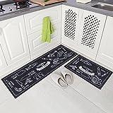 Carvapet 2 Piece Microfiber Non-Slip Kitchen Mat Rubber Backing Doormat Runner Rug Set, Cozinha Design (Black 15'x47'+15'x23')