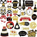 New Years Photo Booth Props, Glitter Photo Booth Props for Eve Party Supplies Decorations – 39 PCS