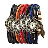 Yunanwa Pack of 6 Women's Watches Vintage Wrap Around Bead Leaf Bracelet Quartz Wholesale Set