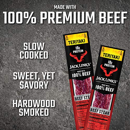 Jack Link's Premium Cuts Beef Steak, Teriyaki, 2 oz., 12 Count – Great Protein Snack with 18g of Protein and 9g of Carbs per Serving, Made with 100% Premium Beef 6