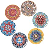 BOHORIA Premium Design Coasters (Set of 6) - Decorative Coasters for Glass, Cups, Vases, Candles on Dining Table made of Wood, Glass or Stone (Round   9cm) (Mandala Edition)