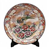 Jpanese traditional ceramic Kutani ware. Decorative Plate with a stand. Waritori flowers. With wooden box. ktn-K5-1398