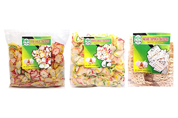 Combo Pack 2 Kerupuk Bawang Star Star Garlic Crackers 2 Kerupuk Bawang Pesta Pesta Garlic Crackers 2 New Kerupuk Aci Square Square Tapioca Crackers Amazon Com Grocery Gourmet Food
