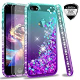 iPhone 5S Case, iPhone SE Case with [2 Pack] Tempered Glass Screen Protector for Girls Women, LeYi Glitter Bling Liquid Quicksand TPU Protective Phone Case for iPhone 5 ZX Gradient Teal/Purple