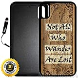 Custom iPhone X/XS Case (Vintage Map Not All Who Wander are Lost) Edge-to-Edge Rubber Black Cover with Shock and Scratch Protection | Lightweight, Ultra-Slim | Includes Stylus Pen by INNOSUB