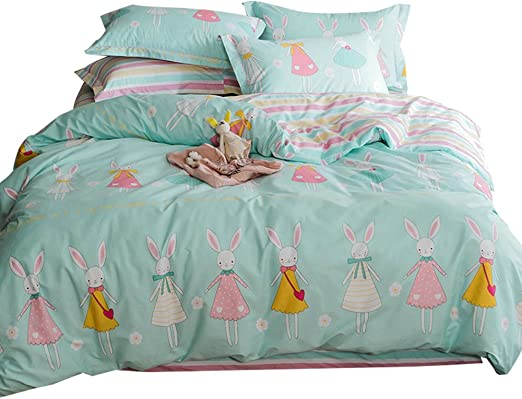 Otob Cartoon Bunny Rabbits Duvet Cover Set Queen For Kids 100 Cotton 3 Pieces Home Textile Girls Teen Bedding Sets Gifts Full With Pillowcases Reversible Lightweight Child Floral Bed Sets Full Queen