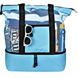 Blue Beach Cooler Bag for Women w Insulated Cooler and Zippered Top – Large