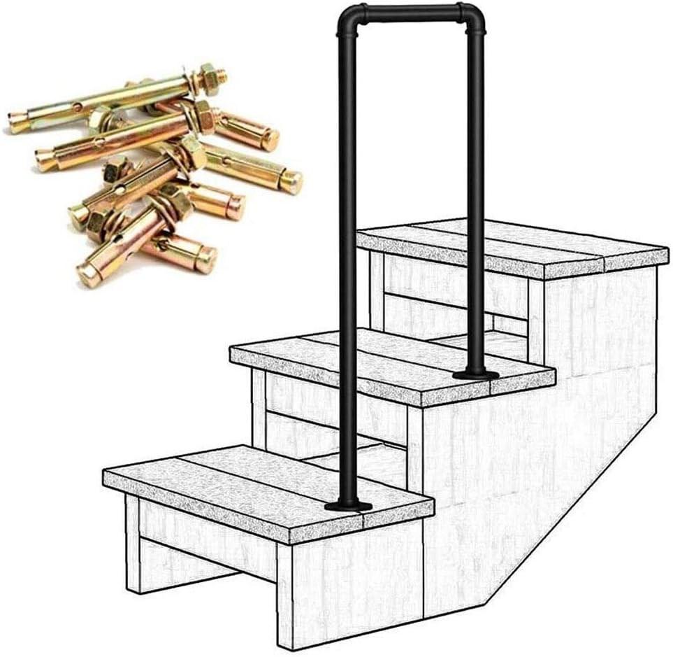 Amazon Com Lanna Shop Handrails For Outdoor Steps Matte Black   Exterior Metal Handrails For Steps   Deck Railing   Outdoor Stair   Railing Systems   Wrought Iron Railings   Concrete Steps